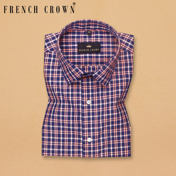 Blue with Orange Checked Ultra soft Giza Cotton SHIRT