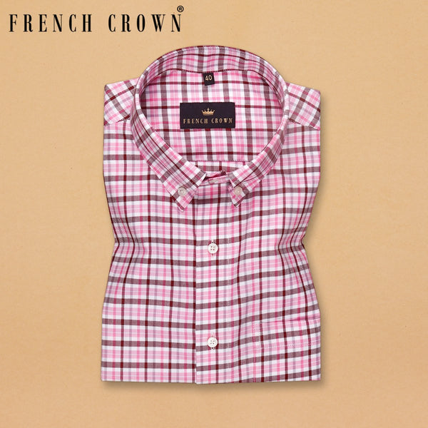 Pink with Maroon Checked Ultra soft Giza Cotton SHIRT