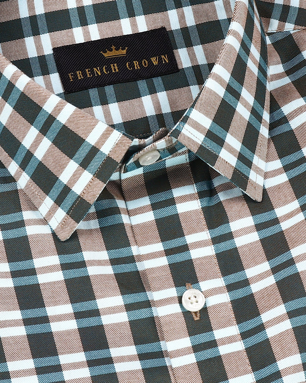Green with Light Brown Checked Ultra soft Giza Cotton SHIRT