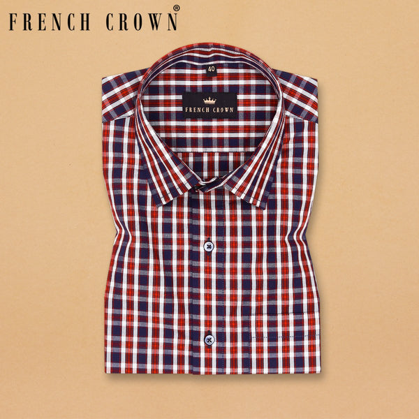 Red with Blue and white Multi-Checked Premium Cotton Shirt
