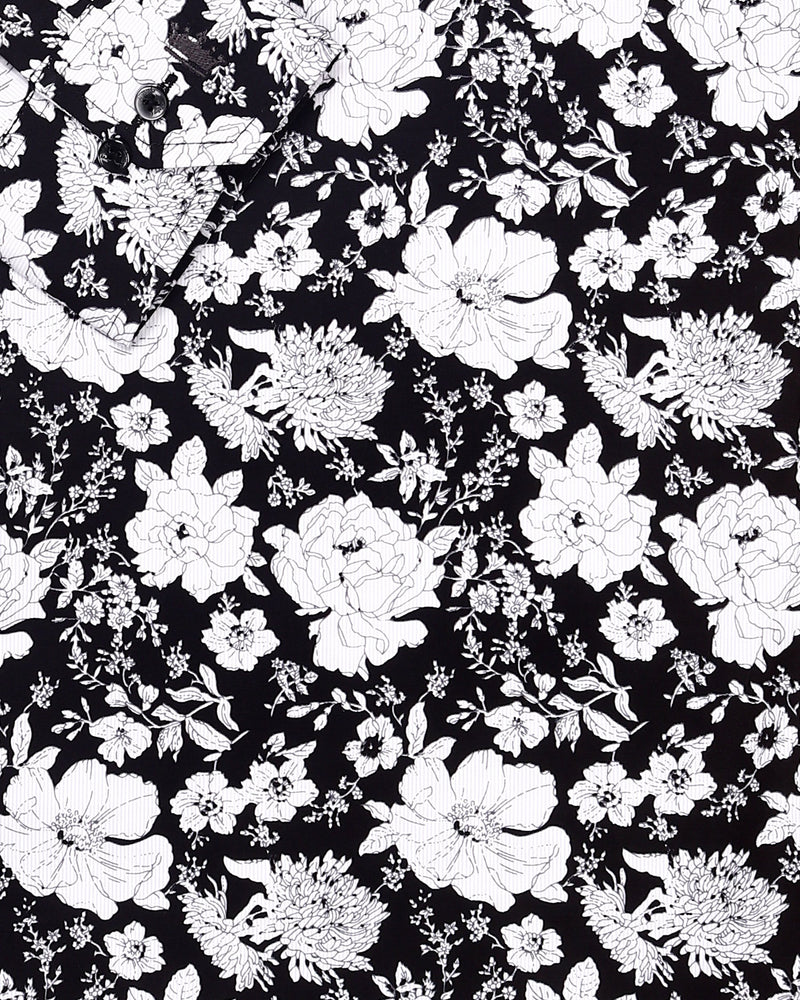 Jade Black with white Flower Print Premium Cotton Shirt
