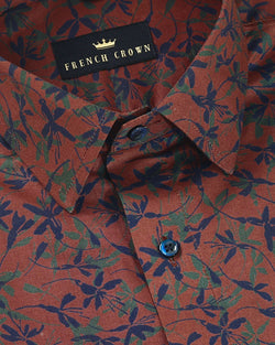 Rust Printed Premium cotton Shirt