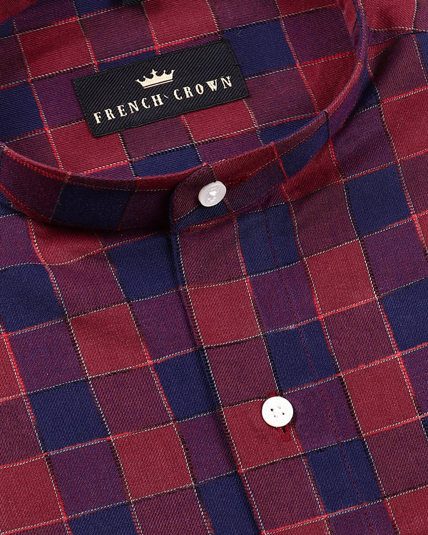 Maroon with Purple Plaid Flannel Cotton SHIRT