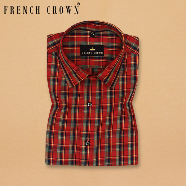 Red with Olive and Blue Plaid Premium Cotton SHIRT