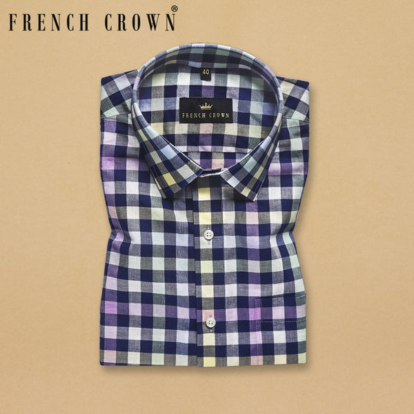 Blue with yellow, green and purple Multi-checked premium Cotton SHIRT