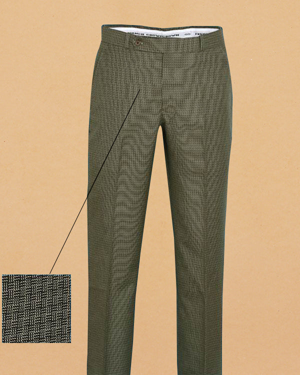 Greenish Brown Checked Regular fit Tere-Rayon Formal Pant