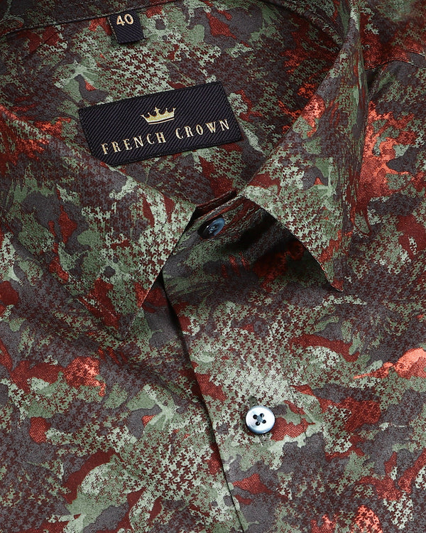 Green Military Print Premium cotton Shirt