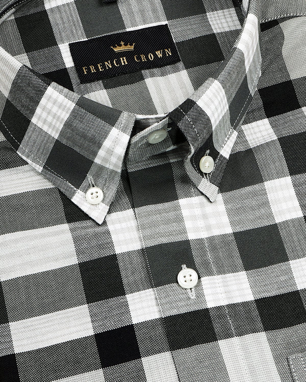 Black and Grey Checked American Pima Heavy  Oxford Printed Shirt