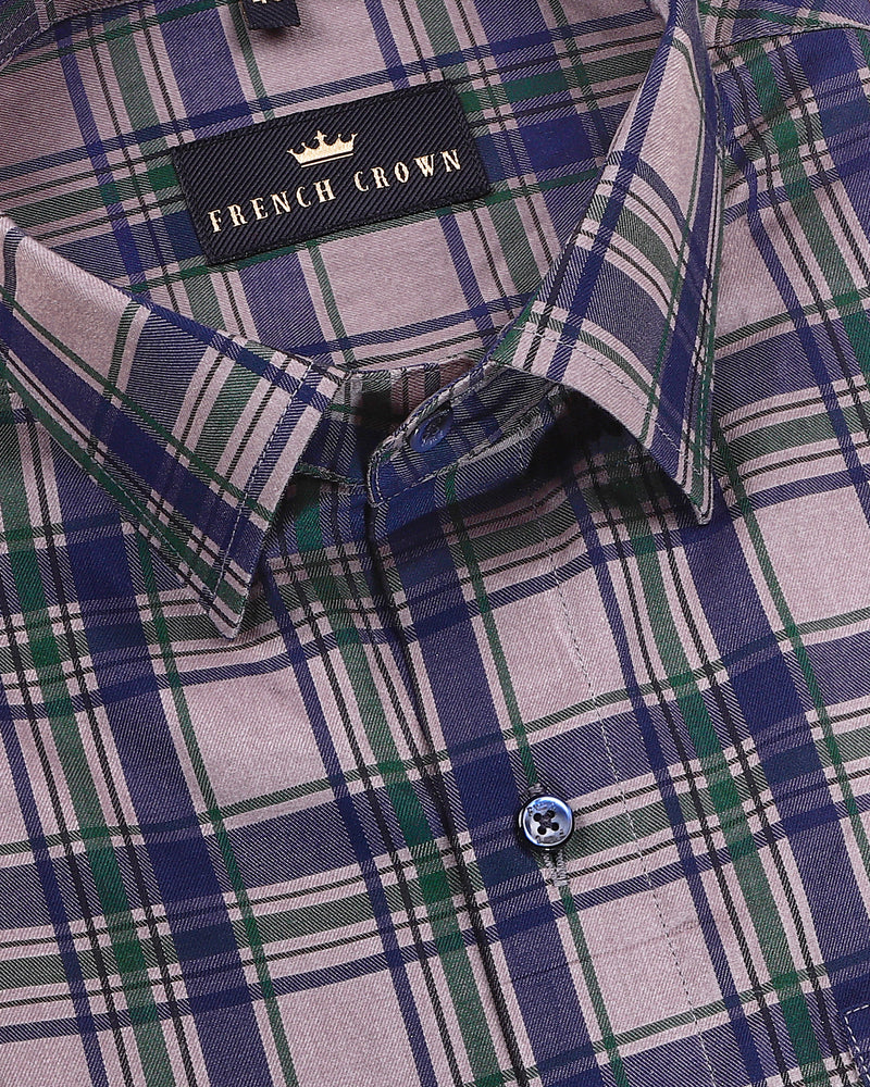Mink Grey with Navy, Green and Black Checkered Ultra Soft Premium Cotton SHIRT