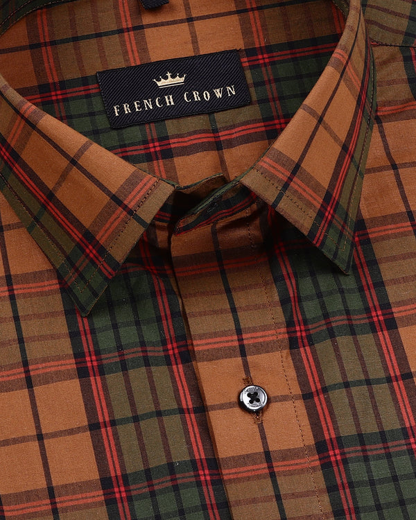 Brown with Green, Navy and Red Plaid Premium Cotton Shirt