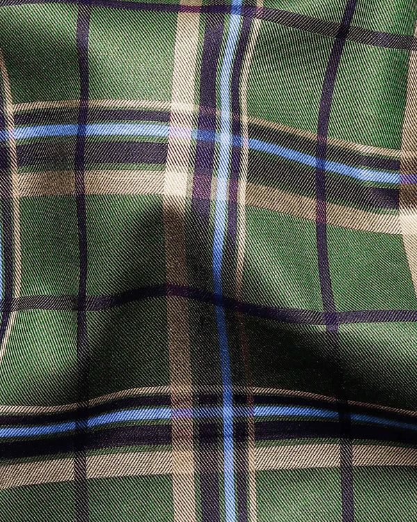 Green with Brown, black and blue Checked Premium Cotton SHIRT