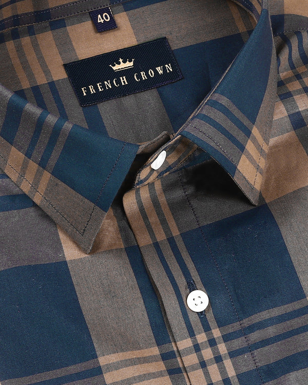 Blue and Brown Checked Premium Cotton Shirt