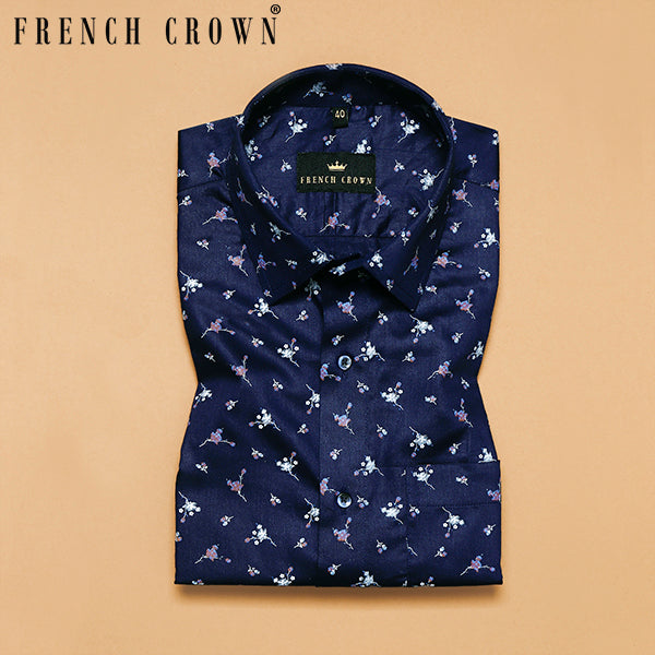 Navy Flower Printed Super Soft Giza Cotton SHIRT