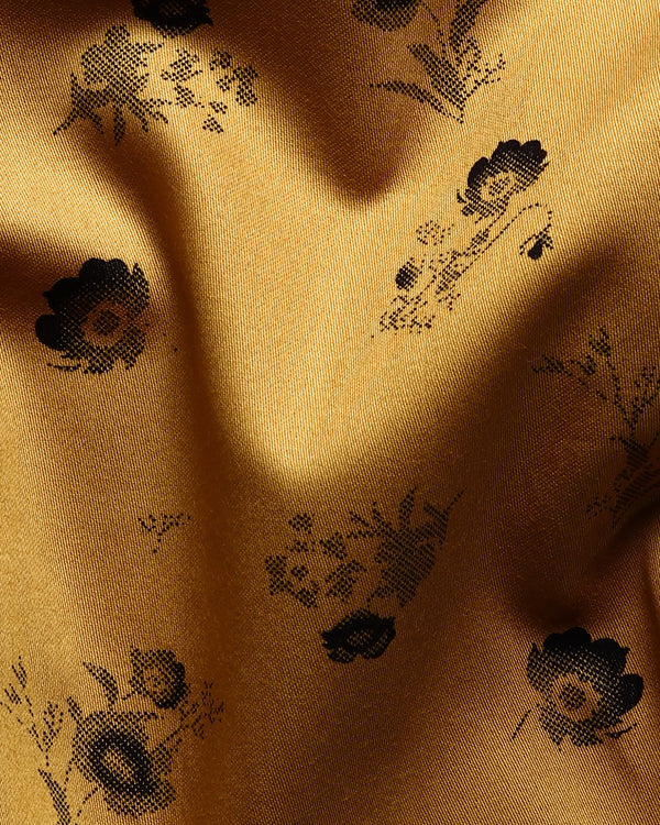 Mustard Flower Printed Super Soft Giza Cotton SHIRT