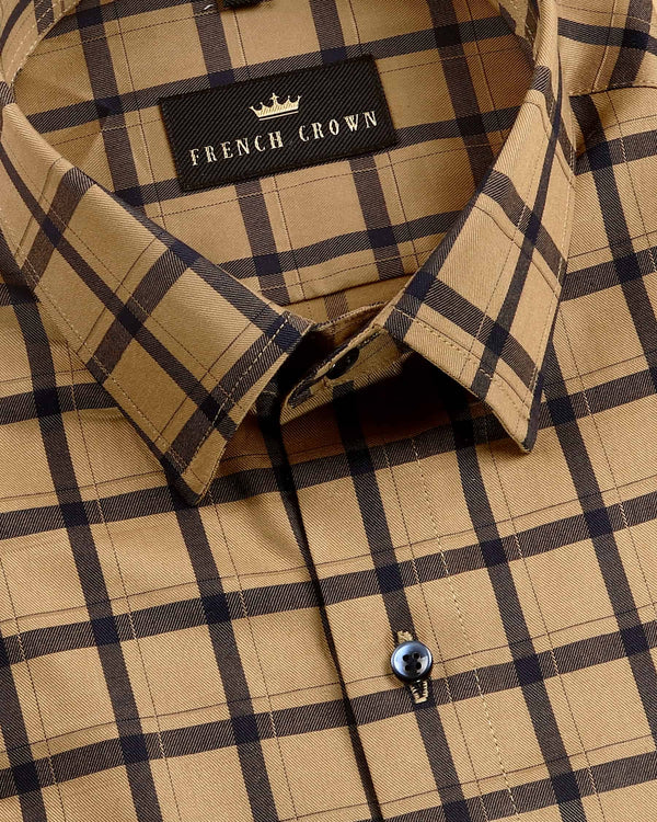 Wood Brown Windowpane Premium Cotton SHIRT