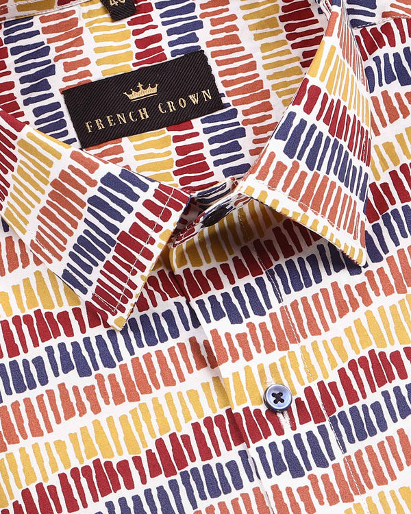 Multi-colour Bars Printed Premium cotton Shirt