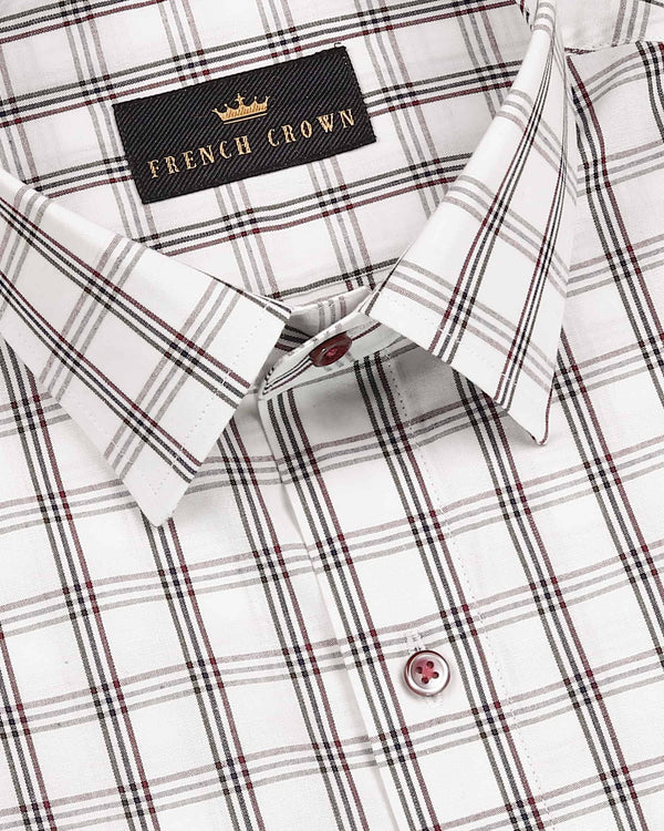 Bright White Windowpane Crisp Cotton Shirt