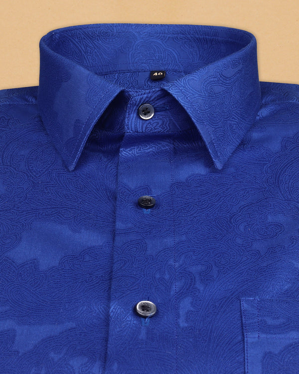 Rich Navy Super Soft Paisley Jacquard Textured Giza Cotton SHIRT