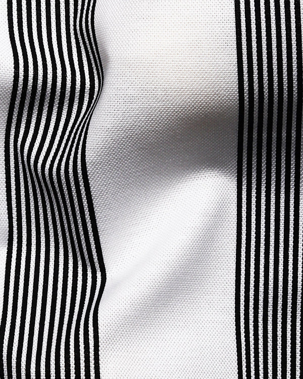 White with Black Broad Striped Royal Oxford Shirt