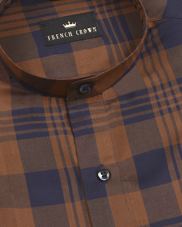 Soil Brown with Blue Plaid Mandarin Collar Premium Cotton SHIRT