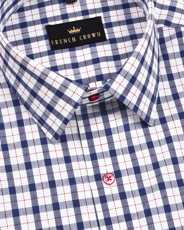 Blue Gingham with Red Stitched Over windowpane Premium Cotton Shirt