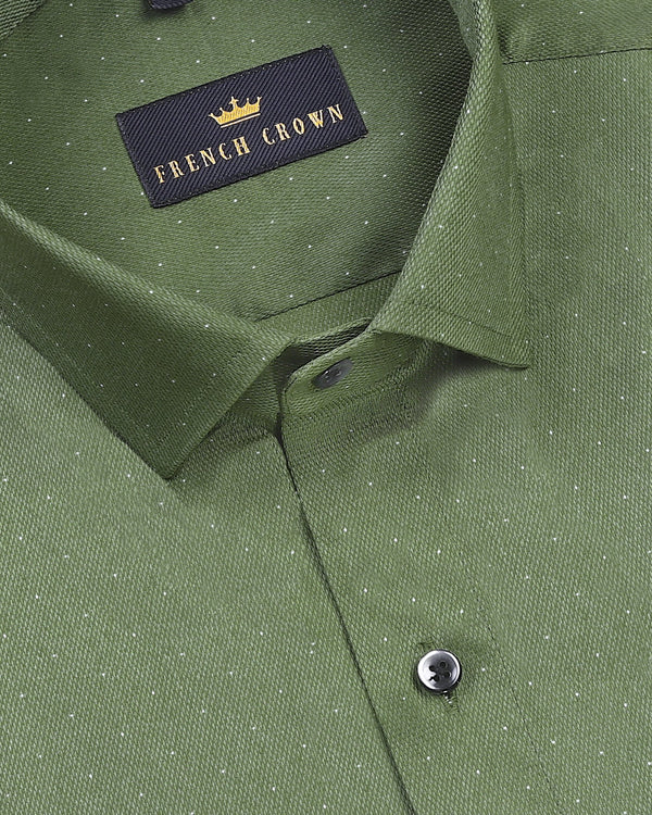 Pickle Green French Cuff with Cut-away Collar Giza Cotton shirt