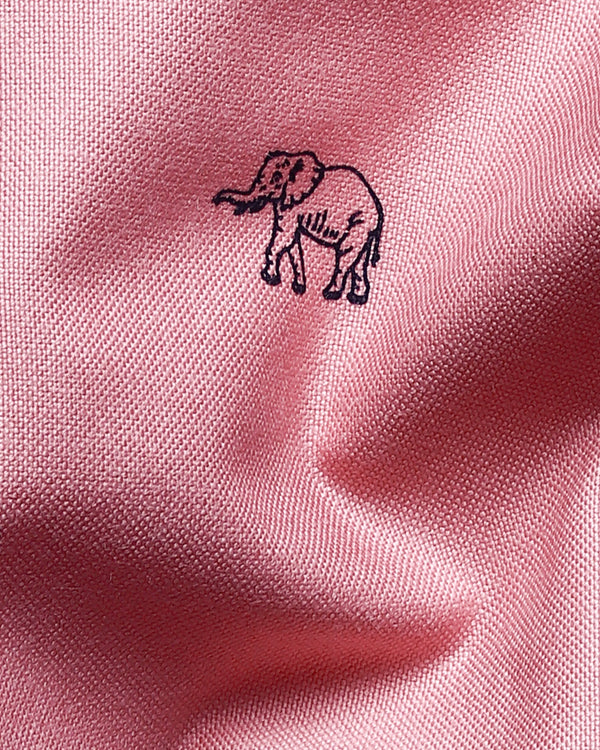 Pink Elephant Printed American Pima Royal Oxford Shirt