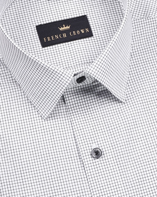 White with Grey Micro Checked Wrinkle Resistant Shirt
