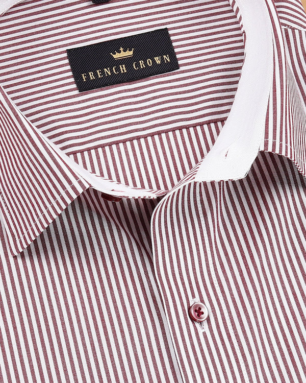 Maroon with White Striped Premium Cotton Shirt