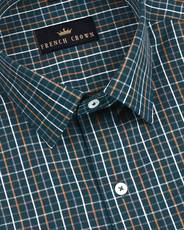 Hunter Green Checked Premium Cotton Shirt