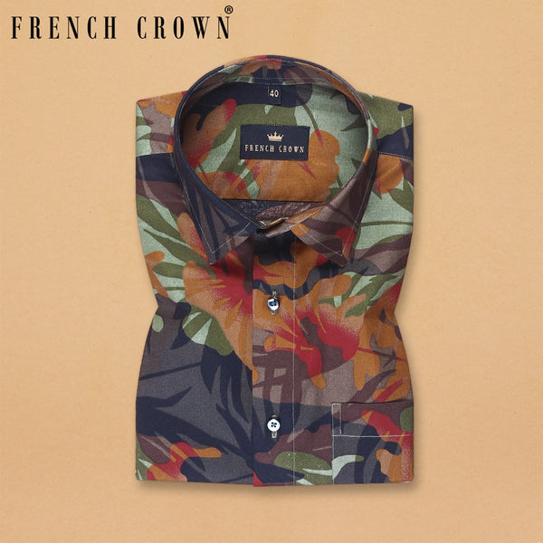 Colourful Camouflage Print Premium Cotton Shirt