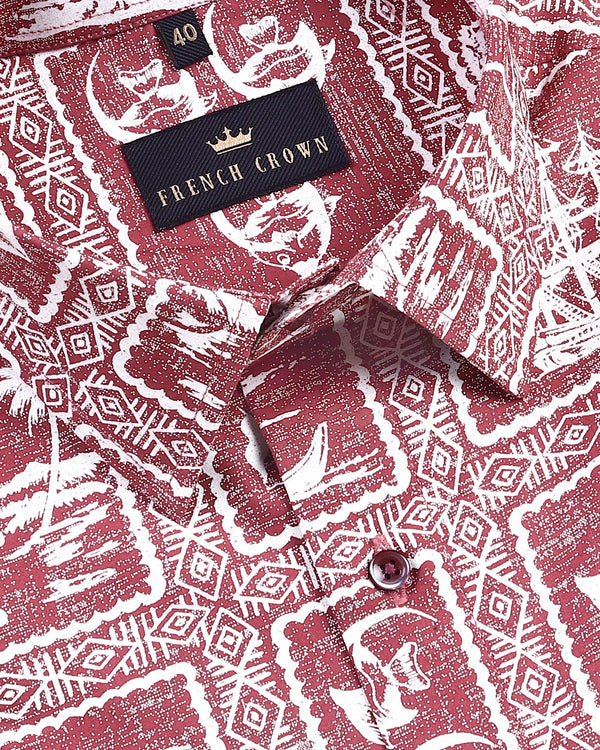 Ruby Red Traditional Print Premium Cotton Shirt