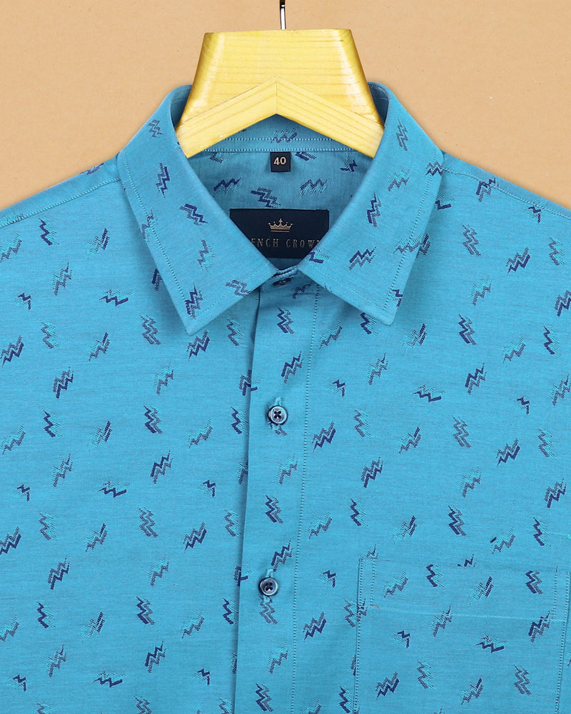 Sky with Navy Electricity Current Jacquard Textured Giza Cotton SHIRT