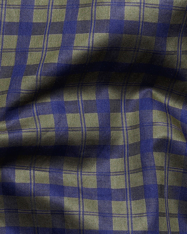 Olive with Navy Plaid Premium Cotton SHIRT