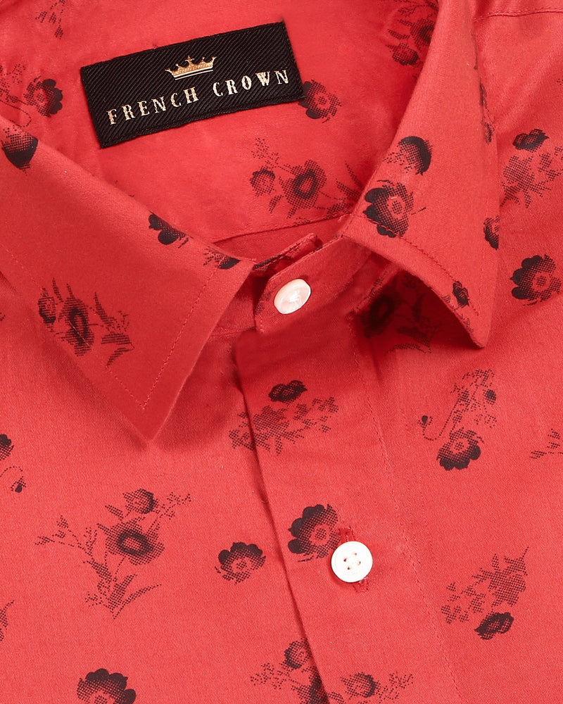 Red Flower Printed Super Soft Giza Cotton SHIRT