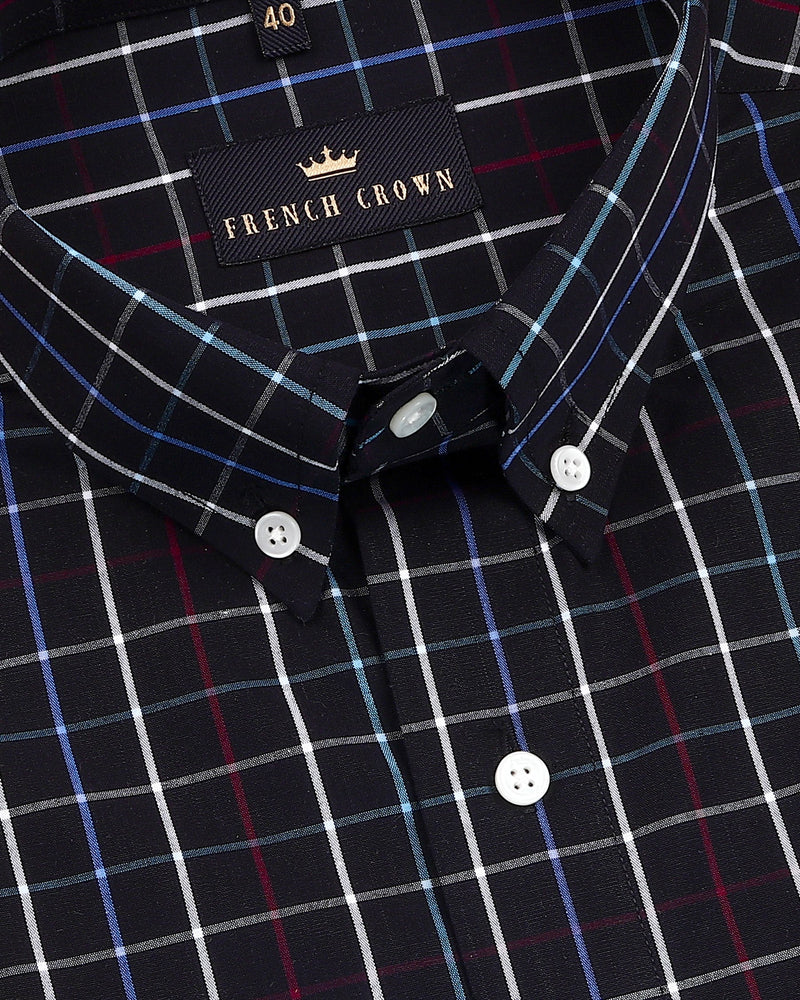 Jade Black Windowpane Button down Crisp Cotton Shirt
