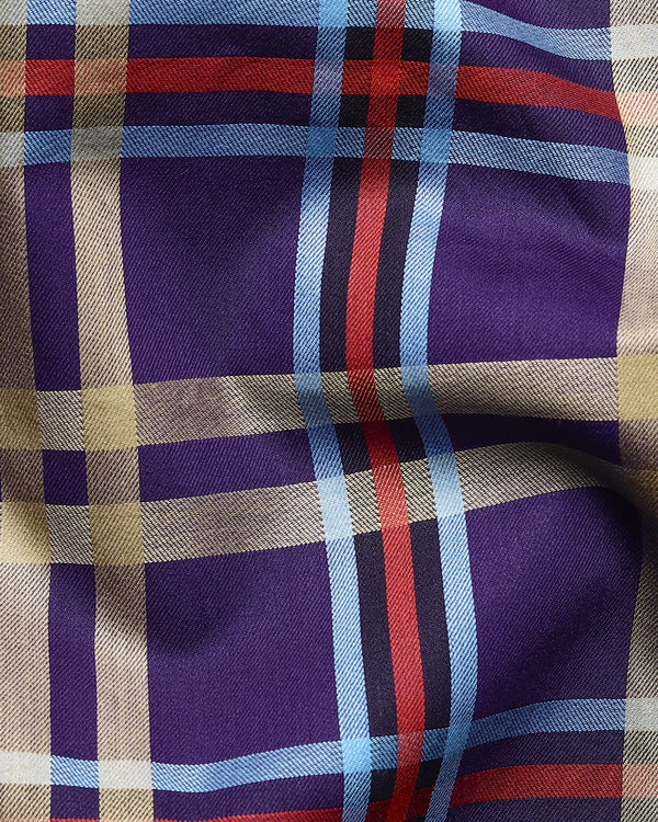 Purple Multi-color Checked Premium Cotton SHIRT