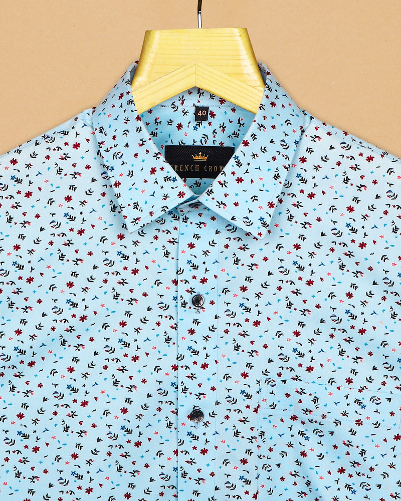 Sky flowers and leaves Printed Premium Cotton SHIRT