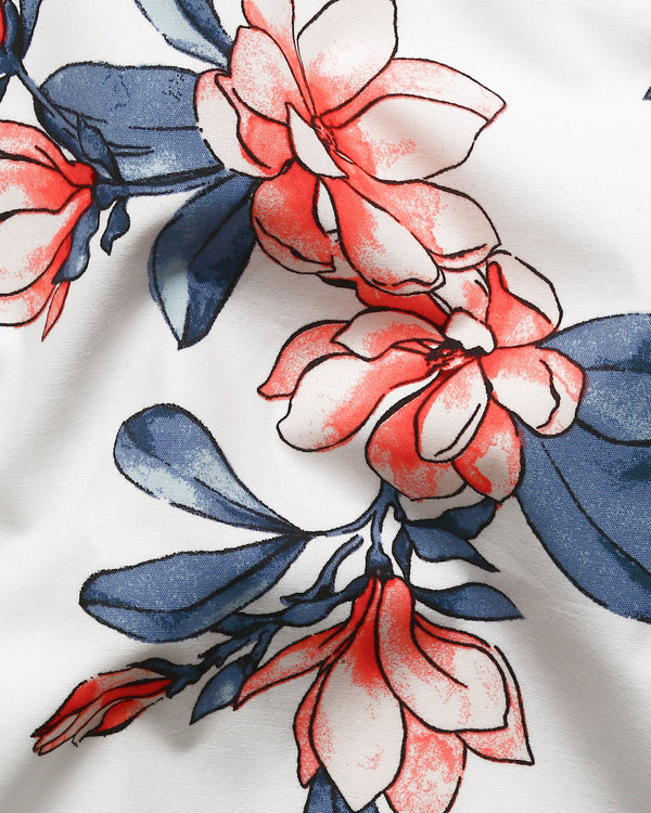Bright White Large Scale Flower Print Premium cotton Shirt