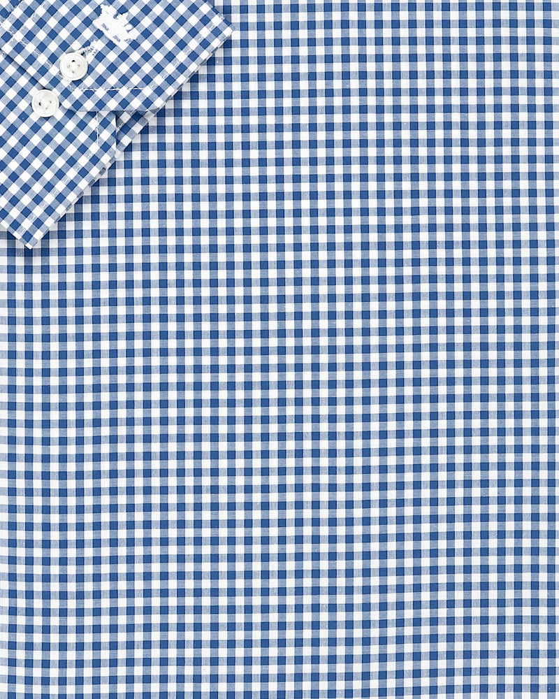 Blue and White Gingham Checks Business Shirt