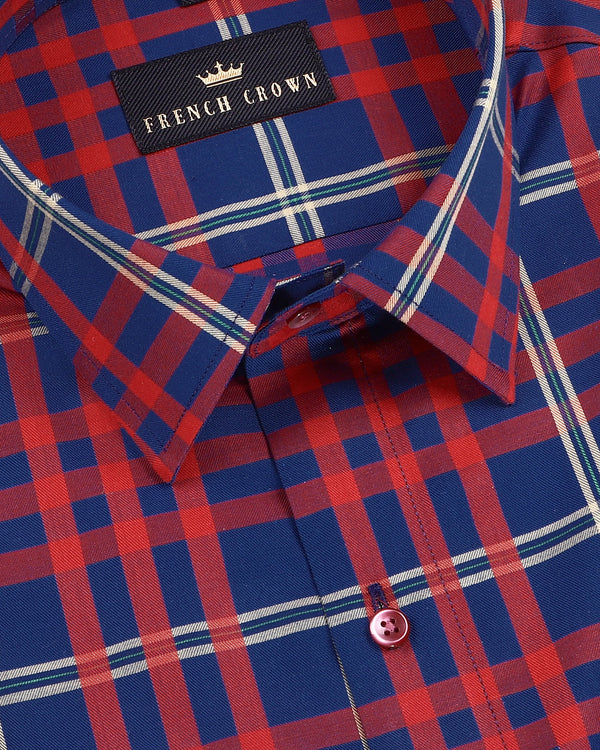 Red with Blue Multi-color Checked Premium Cotton SHIRT