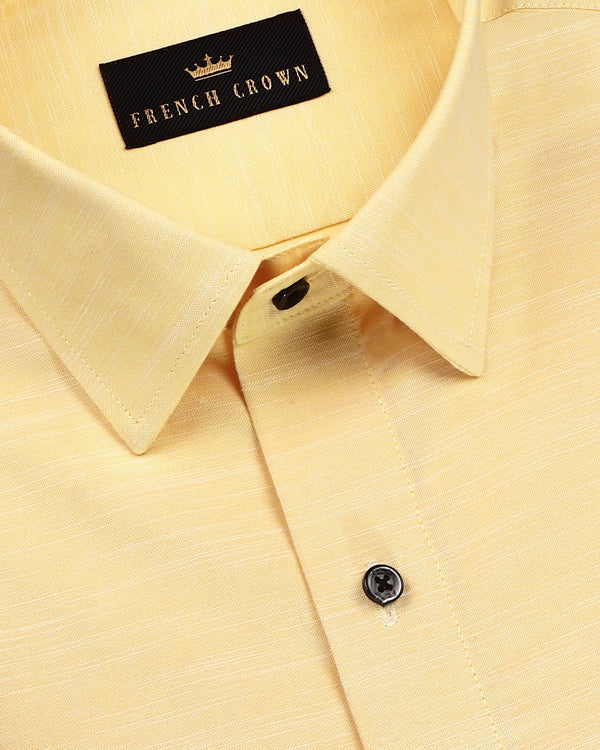 Buttery Yellow luxurious Linen-Cotton Shirt