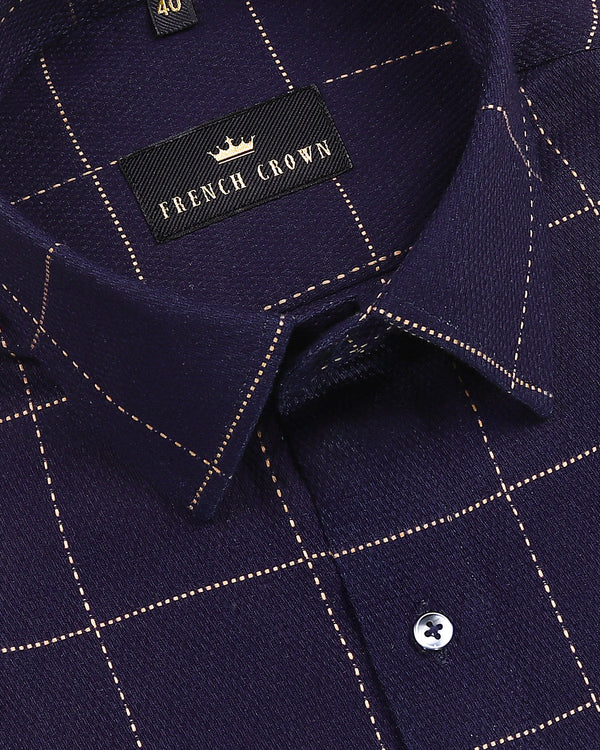 Navy with Brown embroidered Windowpane Dobby Giza Cotton shirt