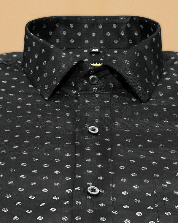 Jade Black Dotted Print Giza Cotton shirt