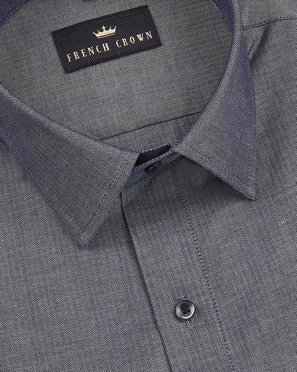 Grey Herringbone Premium Cotton SHIRT