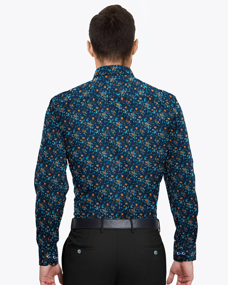 Navy Flower Printed Ultra soft Giza Cotton SHIRT