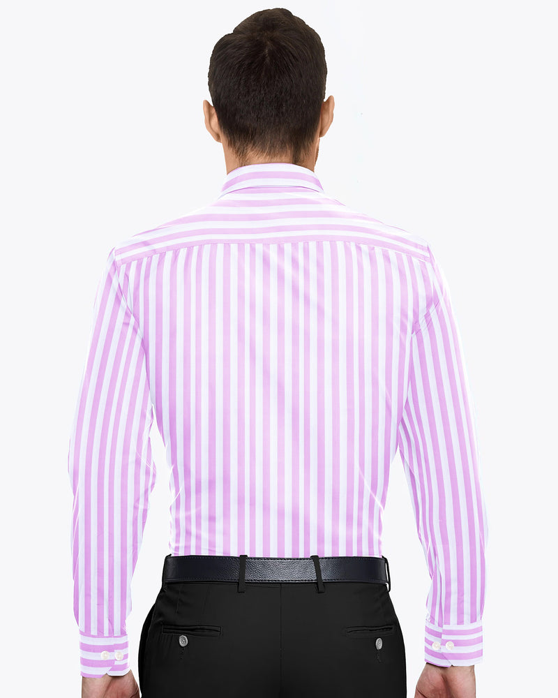 Light Pink wide Striped Premium Cotton Shirt