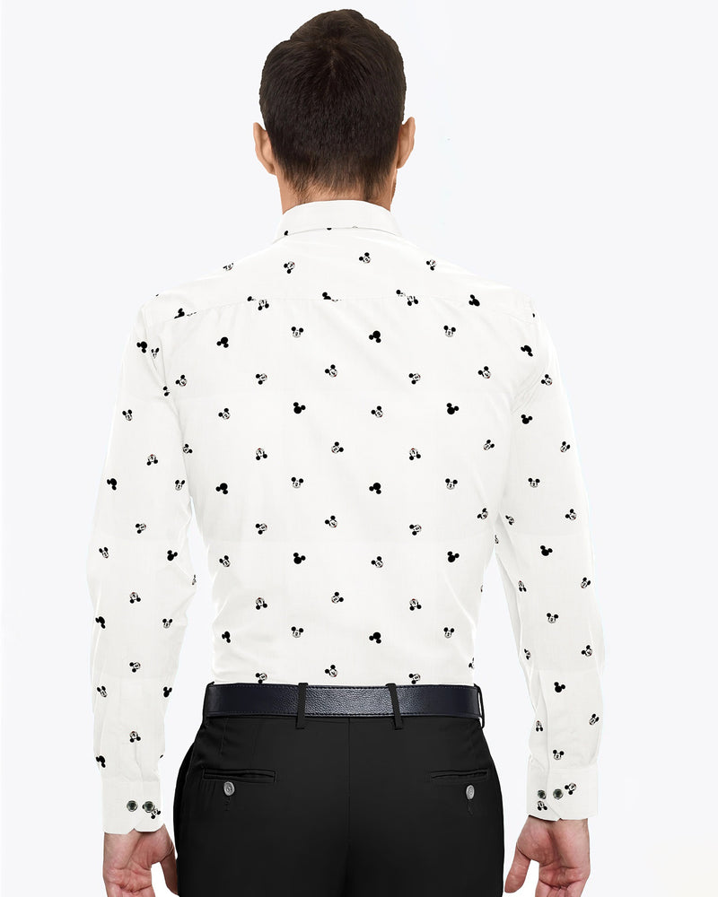 Bright White Mickey Mouse Print Premium Cotton Shirt