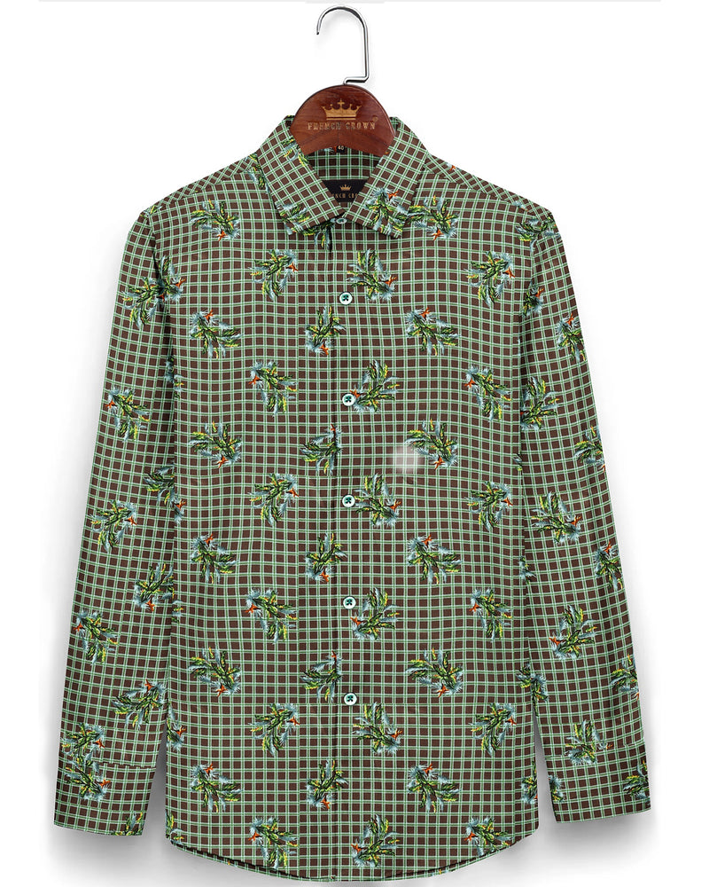 Brown with Green Checked and printed Super Soft Giza Cotton SHIRT