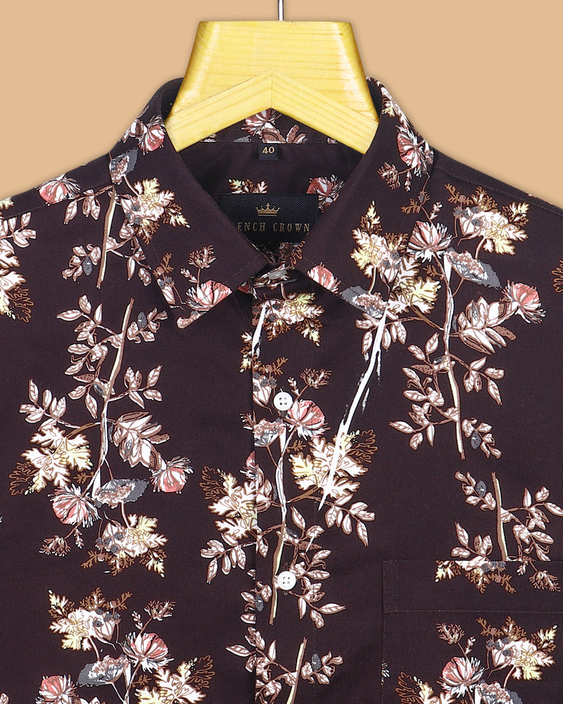 Brown Printed Buttery Corduroy Cotton Shirt